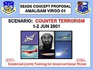 Na titulní straně brožury k cvičení Amlgam Virgo před 11. zářím se nezubil nikdo jiný než Usáma bin Ládin.
