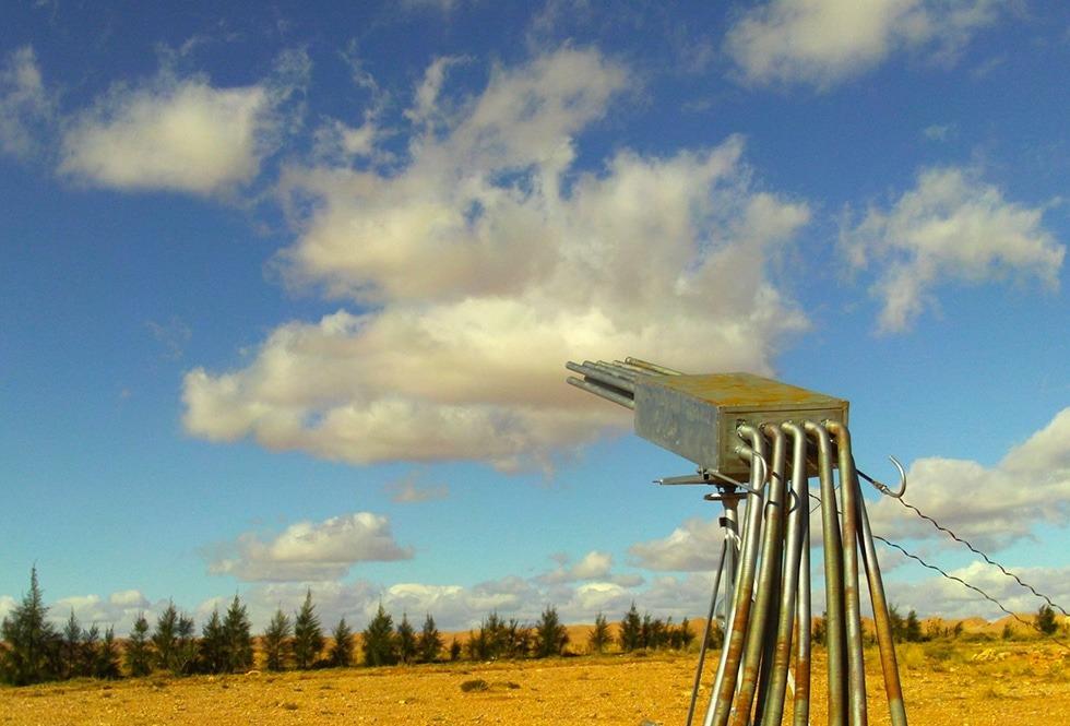 Takzvaný trhač mraků má tvar kanónu a slouží k vytvoření deště...