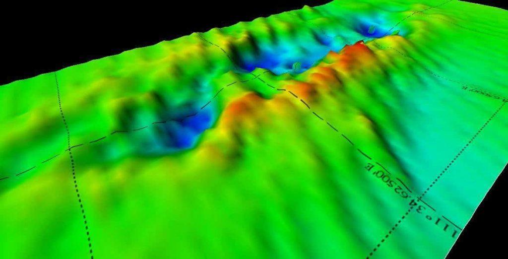 3D mapa ukazuje mořské dno poté, co vrak křižníku HMS Exeter zmizel...